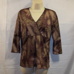 East 5th Top Blouse 3/4 Sleeve V-Neck Lined Size S